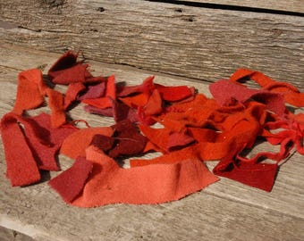 Vintage Wool felted bundles,scrap wool, craft wool,shades of red