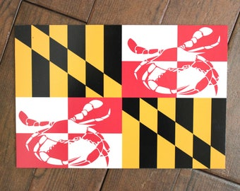 Maryland Flag with Crabs | Custom Sign