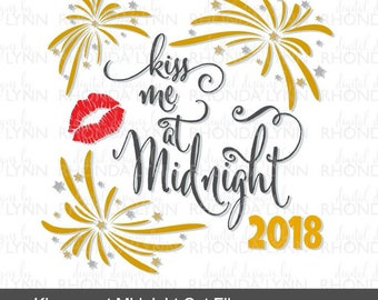 Kiss me at Midnight svg dxf png jpg pdf eps vector cut file | New Years 2018 SVG | New Years SVG | New Years Pattern | New Years Cut File
