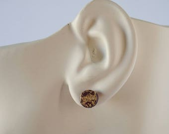 Burgundy Gold Leaf Stud Earrings