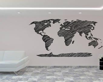 World Map Wall Sticker - Art design Wall Decal - Map of the World Wall Decal - Vinyl Sticker - Home Decor