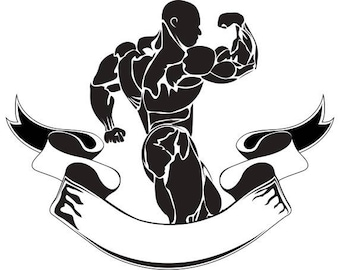 Bodybuilding Logo 11 Bodybuilder Banner Flexing Weightlifting Fitness Workout Gym WeightSVG EPS