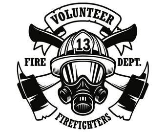 Firefighter Logo #9 Firefighting Rescue Volunteer Axe Hydrant Equipment Fireman Fighting Fire Dept .SVG .EPS .PNG Vector Cricut Cut Cutting