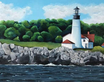 """Original Oil Painting """"The Lighthouse"""""""