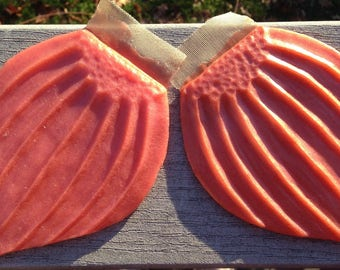 Ready to ship!  Red-orange silicone fins for fabric or silicone mermaid tails (Catalpa style)