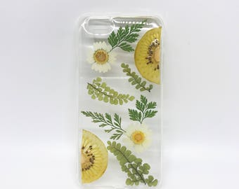 Kiwi fruit & Pressed flower iphone cases,dry flowers cases, pressed fruit,pressed flowers iPhone6/6s/6+ cases, iphone 7/7s/7+ cases, 5/5s/SE