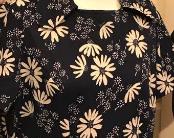 Navy 1960s vintage dress