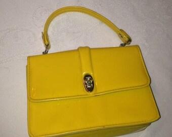 Anniversary Sale Adorable Girls Tiny Vintage Yellow Patent Leather Handbag
