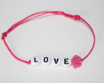 Bracelet Love pearls and pink flower
