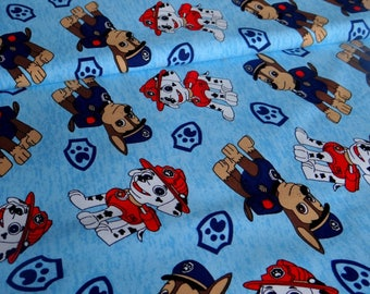 Turquoise Paw Patrol French Terry Knit Fabric