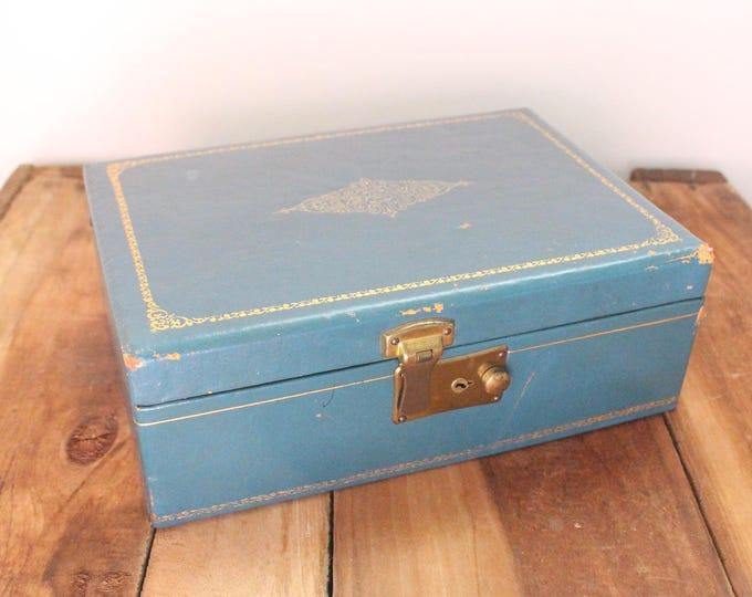 Vintage Blue Velvet Jewelry Box