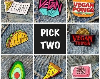 VEGAN PIN DEAL: Buy 2 & Save - Enamel Pin Lapel Pin Badge - Vegan Pizza Vegan Metal Vegan Things Vegan Taco Vegan Club Avocado