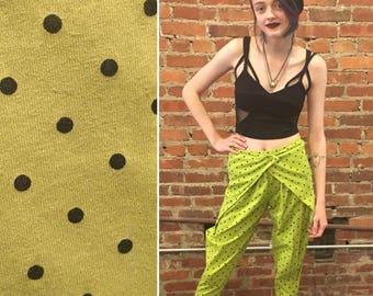 Vintage 1980s XS Lime Green Polkadot Harem Pants
