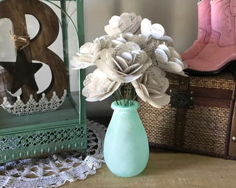 Book Paper Rose Bouquet in Mint Vase