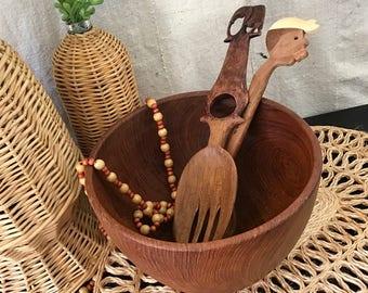Large Mid Century Modern Teak Wood Bowl / Vintage Teak Bowl / Wood  Salad Bowl