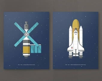 Print Set of Two Space Posters. Choose from a selection of Space Stations, Shuttles, Rocket & Moon Landers. Poster Print Wall Art Home Décor