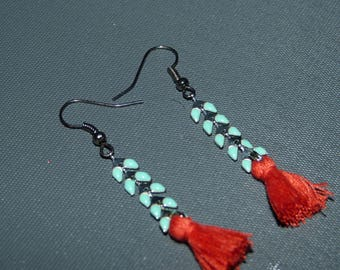 Earrings turquoise enamelled ear chain & tassel