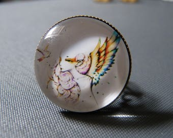 Ring cabochon girl wings
