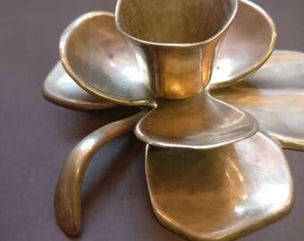 Vintage Brass Candle Holder, Lily design