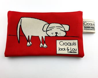 Pouch/red / pouch with dog / pencil case / make-up bag / Tote / sketch fabrics