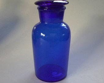 Antique Cobalt Blue Glass Pharmacy Apothecary Jar / Bottle MEDIUM