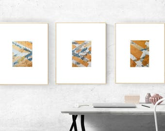 Gold Painting Original on Canvas Set of 3 Abstract Paintings Metallic Gold on Canvas Board 5'' x 7'' Small Gold Silver Blue Wall Art Set