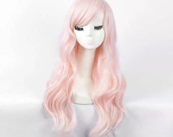 Long wavy pastel pink fairy cosplay high quality wig