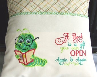 BEAUTIFULLY EMBROIDERED Reading Pillow/Cushion Bookworm and verse