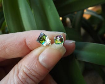 """4 mm Swarovski Cube earrings """"Crystal stained medium"""" and silver 925"""