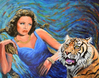 Circus Troupe - Original Painting on Canvas tiger Gene Tierney 1940s retro animal art africa surreal surrealist artwork by Jane Ianniello