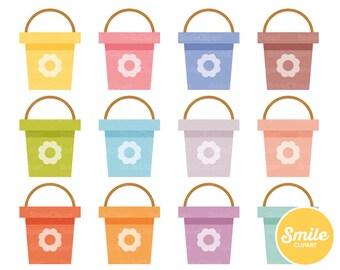 Flower Bucket Clipart Illustration for Commercial Use | 0318