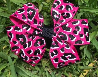 Pink Leopard Print Bow