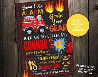 Firefighter Birthday Invitation, Firefighter Invitation, Firefighter Birthday Invite, Fire Truck, Firefighter Party, fireman man printable