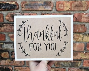 Thankful For You Greeting Card with Wreath - Handmade Rustic Calligraphy Card - Single Card