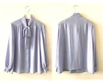 "70s ascot bow blouse L / XL ""Myriam"" Baby blue Pastel blue vintage secretary blouse, lilac blue deadstock shirt, size 8 10, 70s clothing"