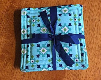 Set of 4 Quilted Fabric Coasters