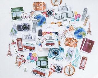 45 Pieces Travel Stickers - Planner, Journal, Craft, Scrapbooking, Decoration