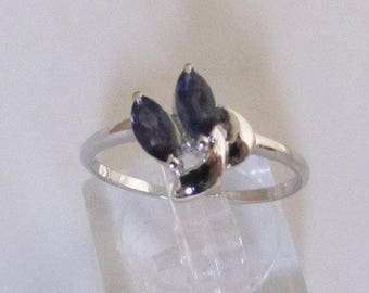 Women's ring in silver and Iolite size 52