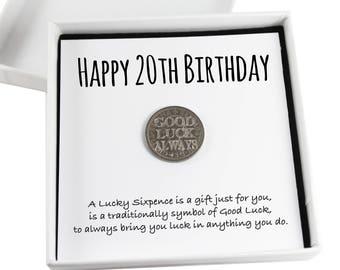 Happy 20th Birthday Lucky Sixpence Keepsake Gift,  Good Luck Present, Lucky Coin