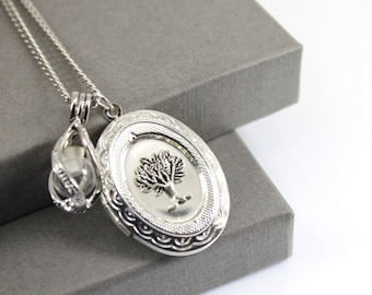 Tree of Life Photo Locket with Fillable Glass Orb, Memorial Jewellery, Urn Locket, Fillable Jewelry, Cremation Necklace