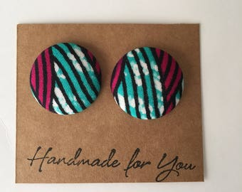Ankara Button Earrings |African Print| Handmade Earrings