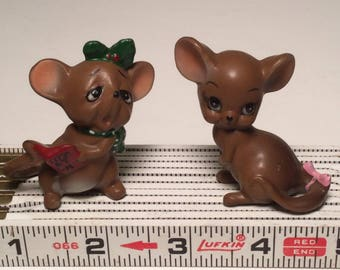 Pair of Small Cute Mouse Figurines Made In Japan Adorable Mice