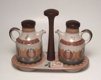 Unique Oil and Vinegar Set in Stand / Cruet Set  Handpainted Pottery Made In Spain