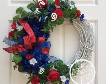 Patriotic Wreath, Summer Wreath, 4th of July Wreath, Wreath Street Floral, Grapevine Wreath, Front Door Wreath, Red White Blue Wreath