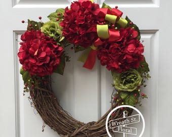 Christmas Wreath, Hydrangea Wreath, Red Wreath, Front Door Wreath, Grapevine Wreath, Wreath Street Floral, Everyday Wreath,Year Round Wreath
