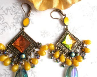 shades of yellow with its touches of green earrings