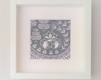 Daniel and Rosie Fox in grey, small framed print, scandinavian folk art gift