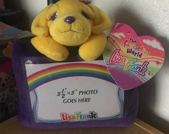 Vintage Lisa Frank Candy Golden Retriever Puppy Plush Picture Frame