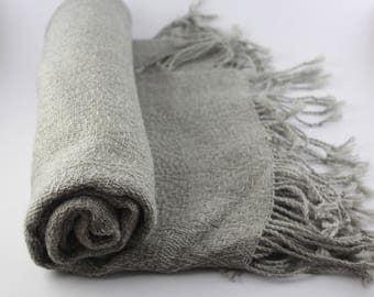 Alpaca Wool Scarf in Light Gray