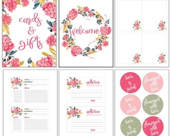 Bridal Shower Decor Kit, Printable Instant Download Set   Recipes, Advice, Welcome, Placecards, Banner, Favor Tags, Decorations